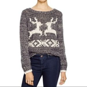 Free People Gray Reindeer Knot Chunky Sweater